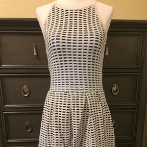 NWT Chic PARKER dress in white knit, blue & black